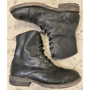 Bed Stu Men's Black Lace Up Leather Combat Boots 8
